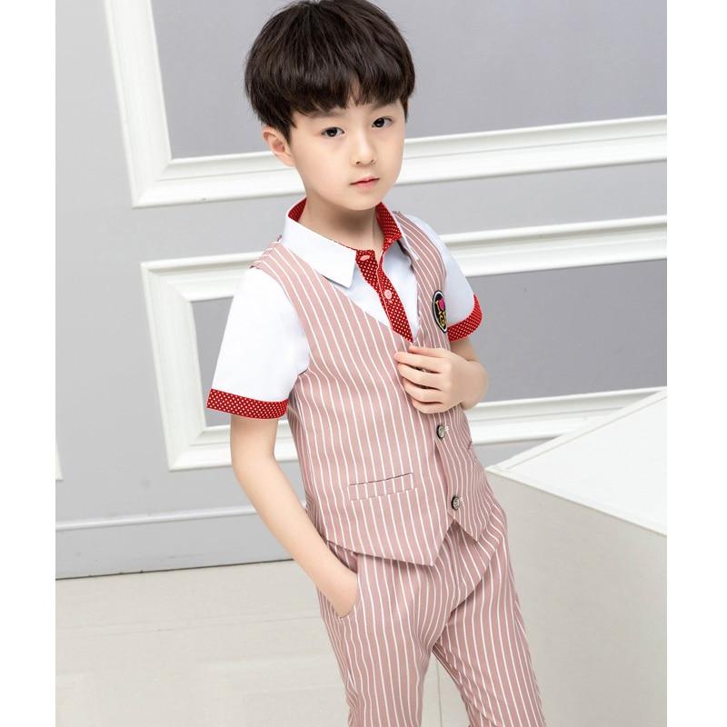 ActhInK 2019 Summer 2Pcs Boys Striped Waistcoat Suit Vest Pants Suit For Boys School Kids Uniform Suit Teen Boys Gentle Suit in Clothing Sets from Mother Kids