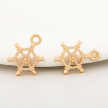 10PCS 10x14MM 24K Champagne Gold Color Plated Brass Rudder Charms Pendants High Quality Diy Jewelry Accessories