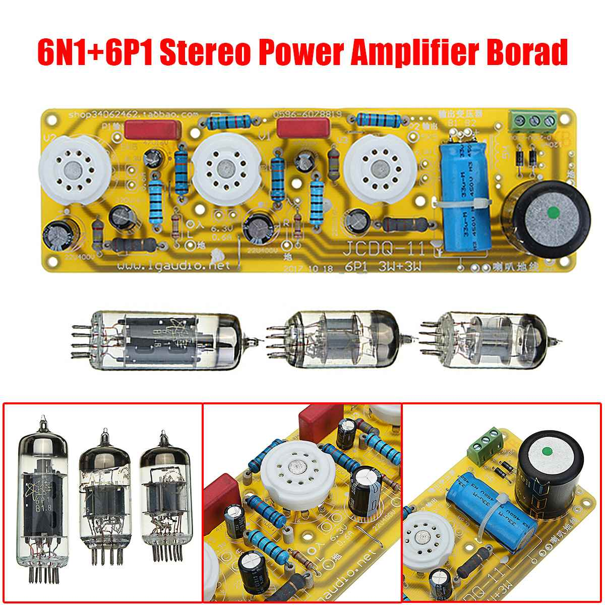 LEORY JCDQ11 Tube Amplifier 6N1+6P1 Audio Stereo Amplifier Board Filament AC Power Supply + 3Pcs Tubes