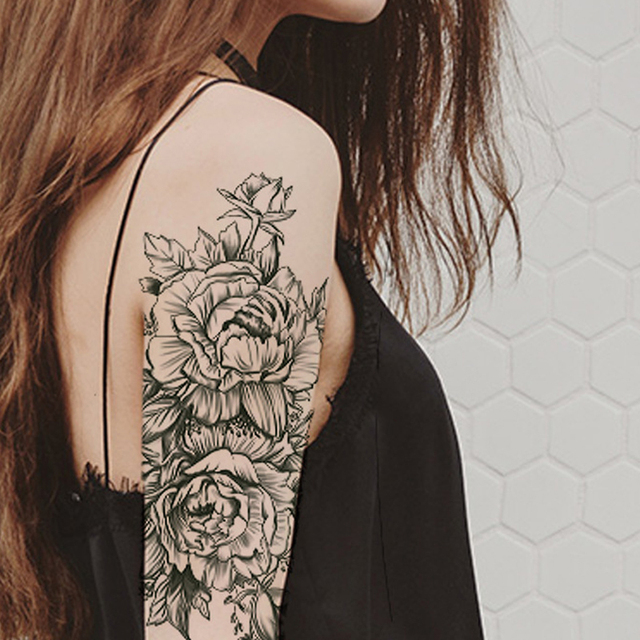 Rose Peony Flower Girls Temporary Tattoos For Women Waterproof Black Tattoo Stickers 3D Blossom Lady Shoulder DIY Tatoos 5