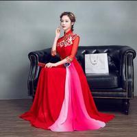 2017 New Spring Red oriental dress High Quality Red cheongsam dress Woman Evening dress