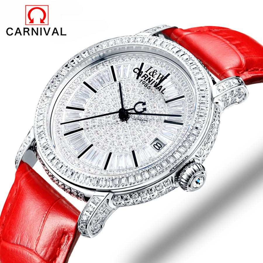 Carnival fashion women sapphire watch luxury skeleton watch automatic watches women genuine leather mechanical watches reloj muj
