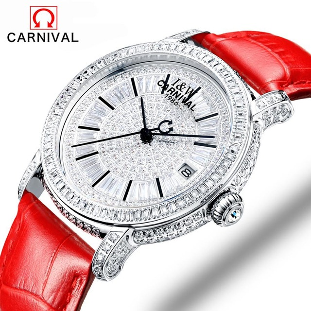 Carnival fashion women sapphire watch luxury skeleton watch automatic watches women genuine leather mechanical watches reloj muj