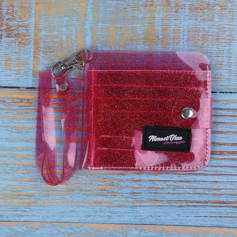 Bling PVC Transparent ID Karte Halter Brieftaschen Folding Lanyard Kurze Brieftasche Mode Frauen Mädchen Glitter Visitenkarte Fall Geldbörse