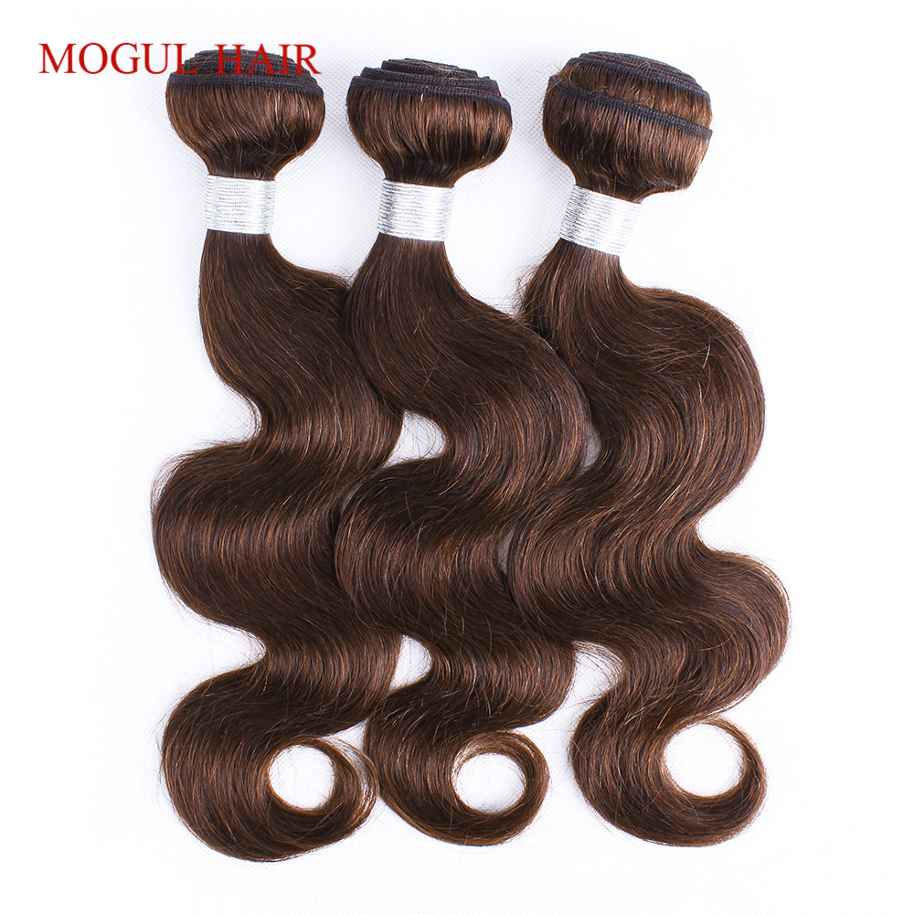 MOGUL HAIR Color 4 Dark Brown Peruvian Body Wave Non Remy Human Hair Extensions 2/3 Bundles 12-24 inch Pre Colored Hair Weave