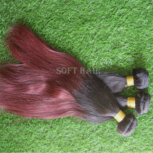 2015 Soft Hair Products Virgin Brazilian Straight Ombre Human Hair Extensions 1B Burgundy Two Tone Ombre Brazilian Hair Weave