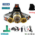 Led Headlight 3T6 9000Lm Rechargeable Headlamp Flashlight Head Torch Linterna Xml T6+2Q5 7500Lm + 18650 Battery  Fishing Light
