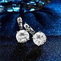 SHUANGR Cute Silver Color Round Crystal Circle Small Loop Huggies Hoop Earrings For Women Jewelry Kids Baby Children Girls Aros