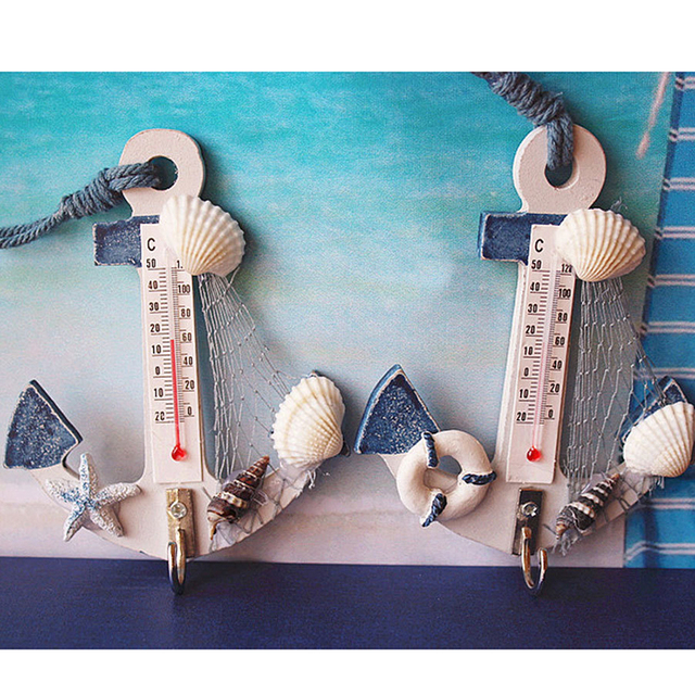 Wood Anchor Thermometer Crafts Art Wall Hanging Hook Meter Gauge Shell Nautical Decor Vintage Home Decoration Creative Gift 2