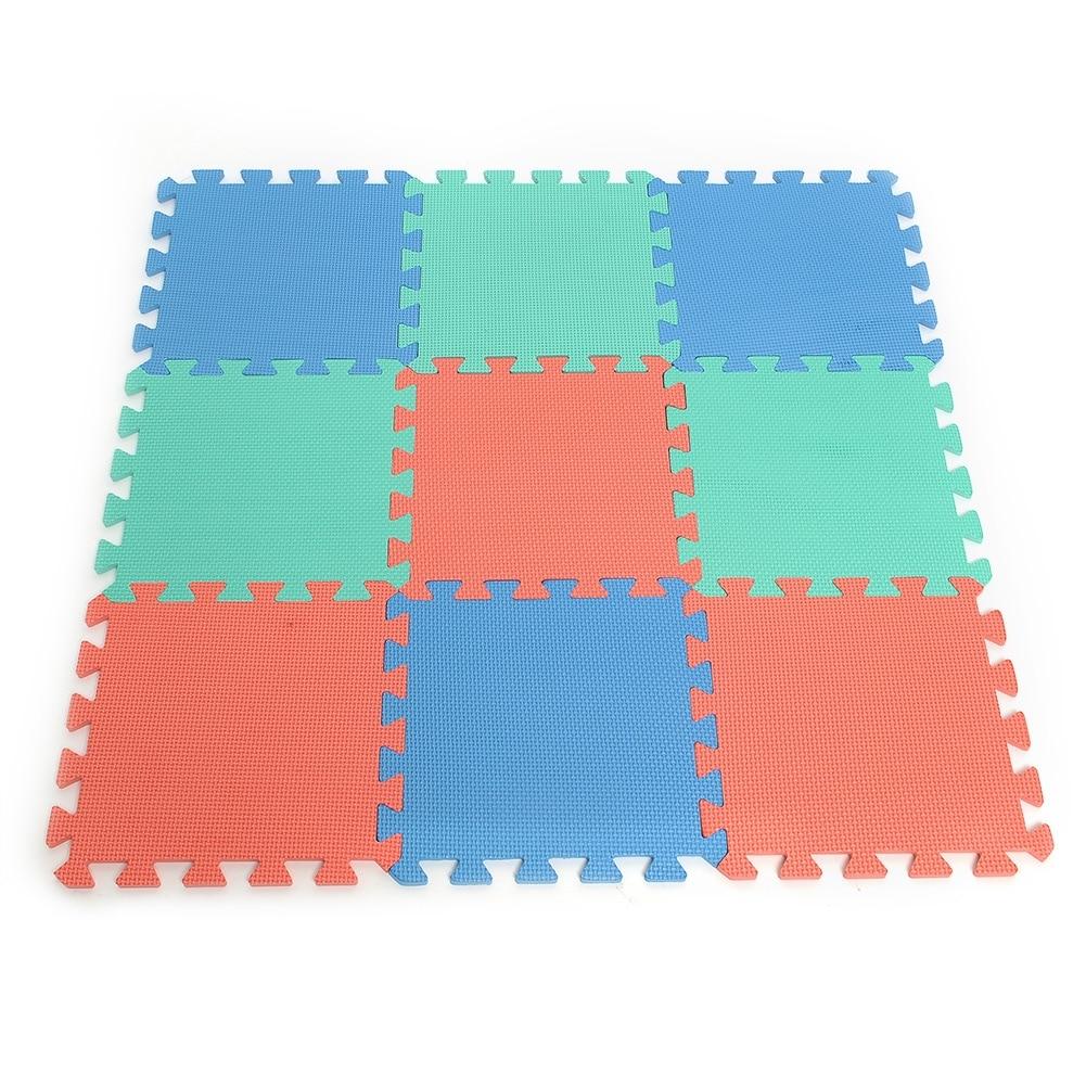 Durable safe Rose EVA Foam 9 pcs Interlocking Mat Kids Play Mat Puzzle Eco Foam Tile Practical