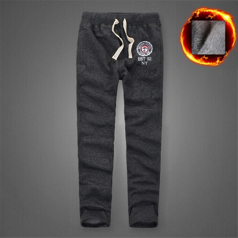 Winter Men Pants Thick Cotton Sweatpants Full Length track pants size S to 3XL