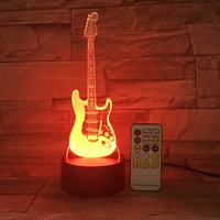 Remote Guitar Night Light 3D LED Lamp 7 Color Change Led USB Or Touch Control Switch