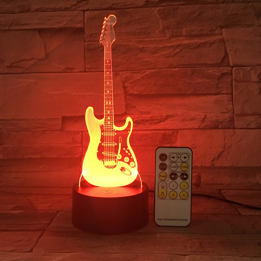 Remote Guitar Night Light 3D LED Lamp 7 Color Change Led USB Or Touch Control Switch Indoor Atmosphere Lamp Kids' Toys And Gifts