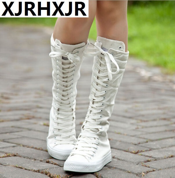 2020 New Hot Fashion Women Punk Platform Flat Knee High Boots Fashion Lace Up Spring autumn Canvas Boots White Black Sneakers