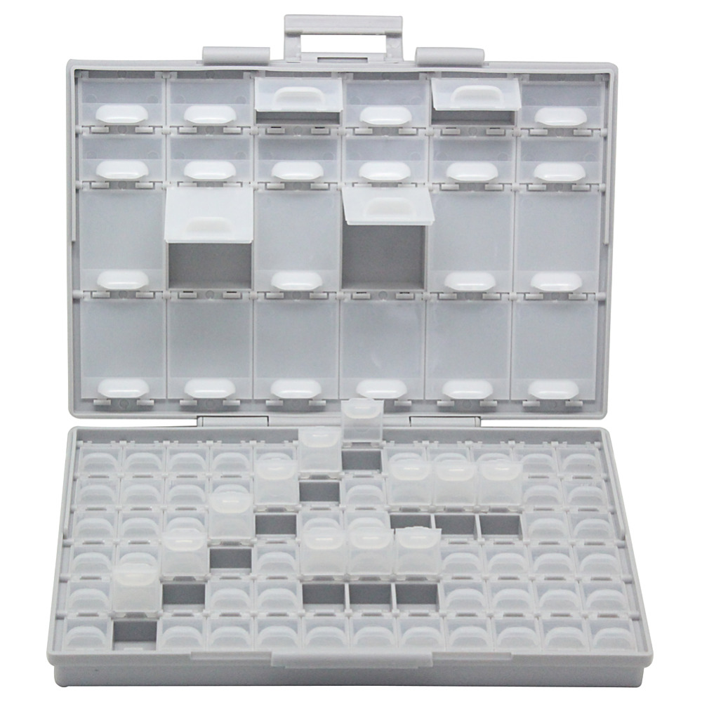 2 of aidetek 0603 0402 resistor craft beads storage box Organizer w//lids label
