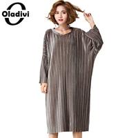 Oladivi Oversized Plus Size Women Clothing Fashion Ladies Casual Loose Velvet Dress 2017 Spring Autumn Long