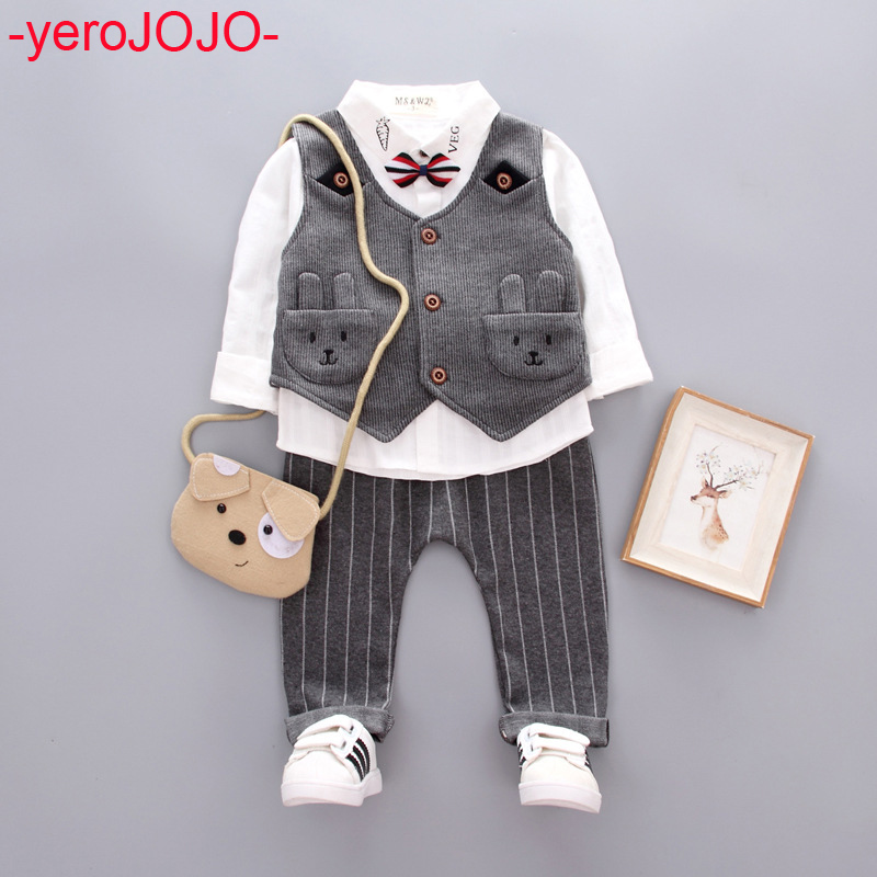 2018 New Boys Gentleman Suit Set Boy Autumn Clothing Kids 3Pcs Long-sleeved Cotton Shirts + Cute Rabbit Vest+ Striped Pants Set 2018 new cotton baby boy clothes summer toddler boys striped rompers sunhat 2pcs clothing set gentleman suit kids clothes