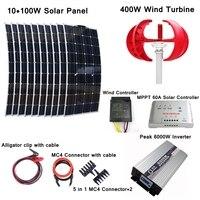 400 Вт Ветрогенератор + Вт 10*100 Вт солнечная панель + ветровой контроллер + MPPT 60A Солнечный контроллер + пиковый Вт 6000 Вт Инвертор + аксессуары дл