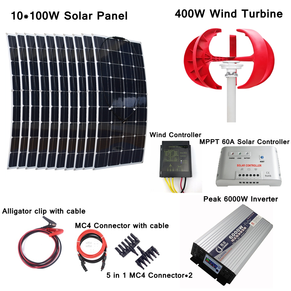 400W Wind Generator+10*100W Solar Panel +Wind Controller+MPPT 60A Solar Controller+Peak 6000W Inverter+Solar Power Accessories