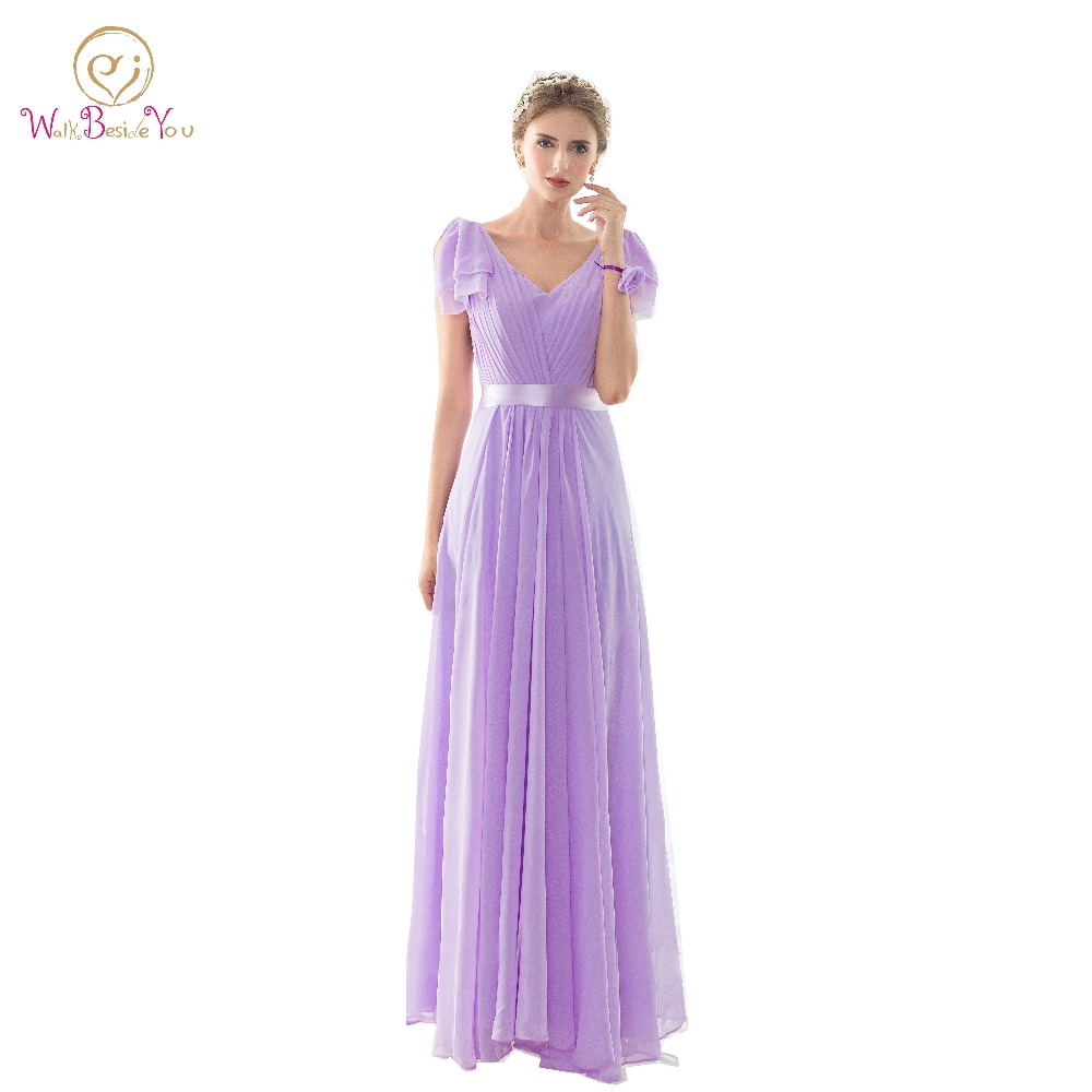 100% Real Pictures   Bridesmaid     Dresses   Long Lilac Sleeveless Deep V neck Floor Length Chiffon   Bridesmaid   Gown Prom   Dresses   Stock