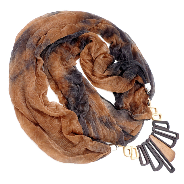 Wood Pendant Jewelry Scarves | Necklace Scarves