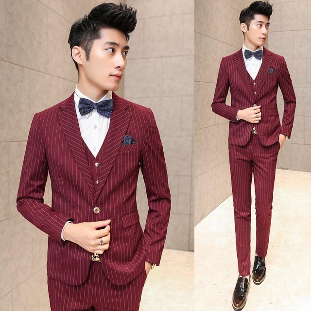 2016 new arrival High quality weding dress,one button striped casual suit men,black men's Business suits (Jackets+Pants+vest)