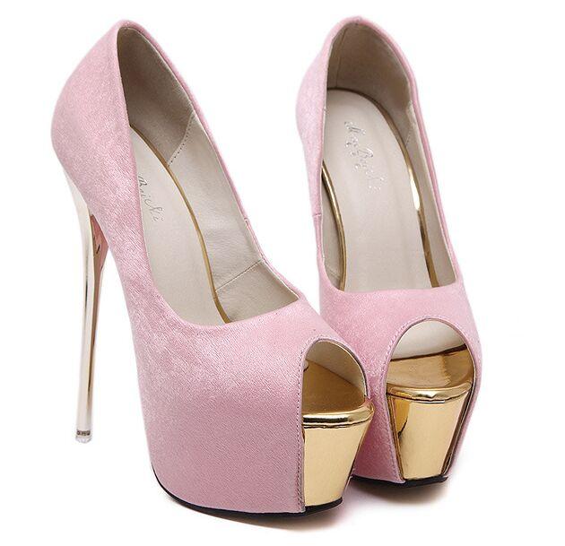 Size 4 9 Golden Black Party font b Women b font Shoes 16cm Summer High Heels