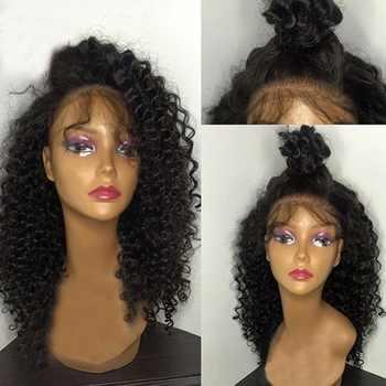 SimBeauty レースフロント人毛ウィッグ黒人女性 130% 密度ペルー弾むカーリー人間の毛髪グルーレスレースフロントかつら - DISCOUNT ITEM  41% OFF ヘアエクステンション & ウィッグ