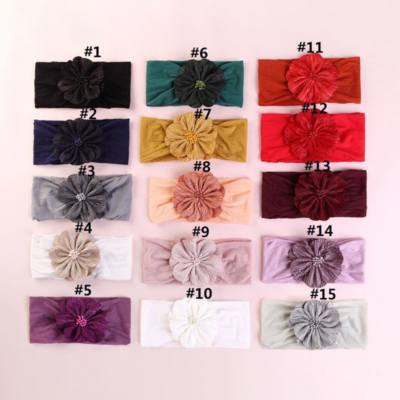 15 Colors High Elastic Flower Headbands For Baby Girls Toddler Nylon Hair Bows Headdress Turban Bow Knot Hair Bands Accessories(China)