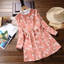 New corduroy dress bow tie dress A-shaped winter women's long-sleeved floral print pleated dress 4 colors kids floral print bow tie cami dress