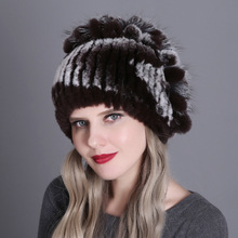 15 Colors Real Rex Rabbit Fur Hat For Women Natural Raccoon