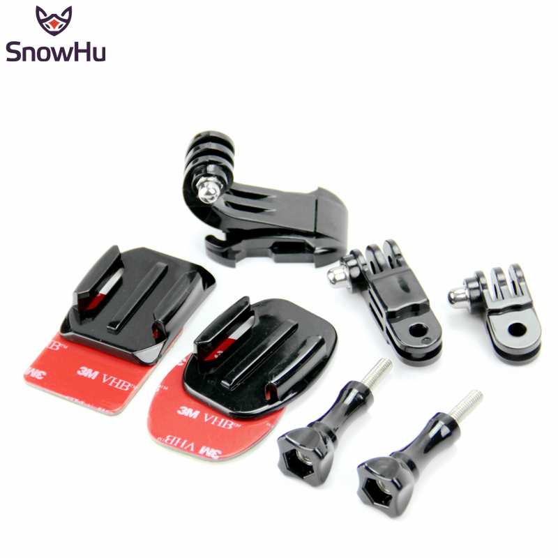 SnowHu Adjustment Curved Adhesive Helmet Front Side Mount kit for GoPro Hero <font><b>7</b></font> 6 5 <font><b>4</b></font> 3+ 2 1 for sj4000 <font><b>5000</b></font> for xiaomi yi GP19 image