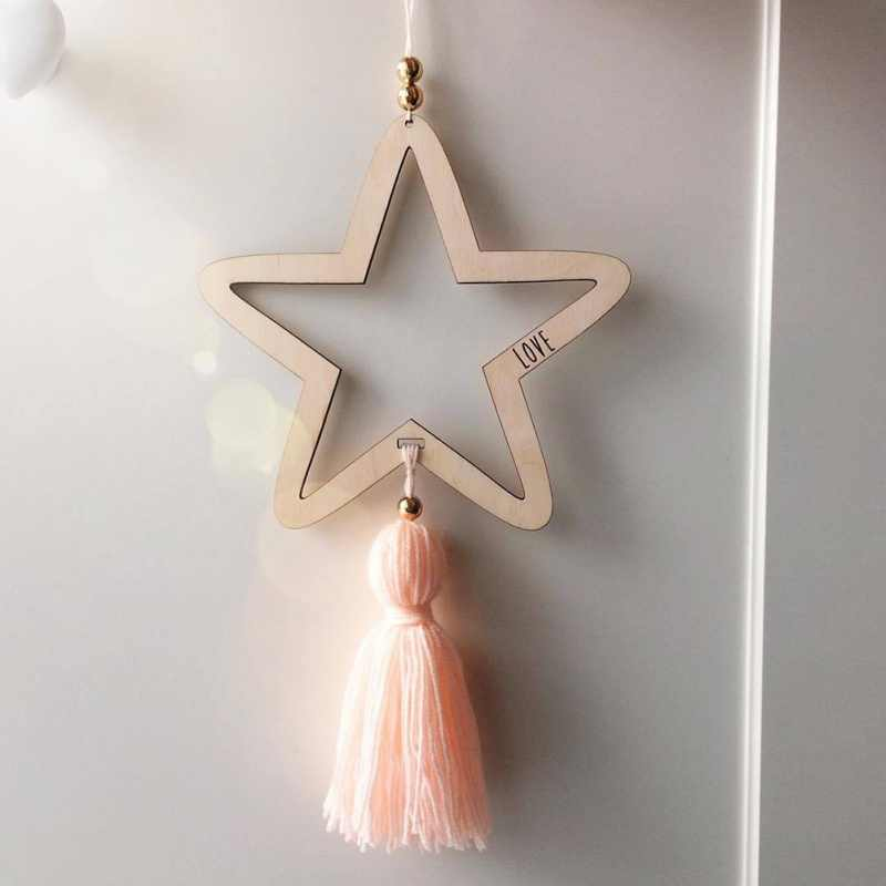 Nordic Style Wooden Star Wind Chimes Kid Home Decoration Accessories Art Wall Hanging For Girls Living Room Toddler DreamCatcher