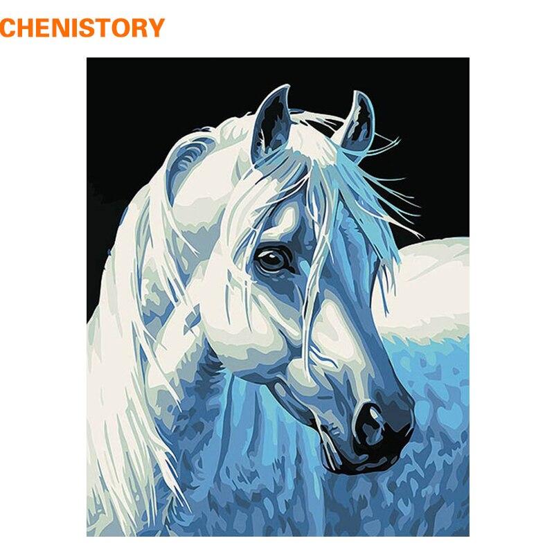 CHENISTORY BRICOLAGE Peinture À L'huile Par Numéros Décoration Peinture Sur Toile Animal Artisanat Image Cheval Abstraite 40x50 cm cadeau Unique