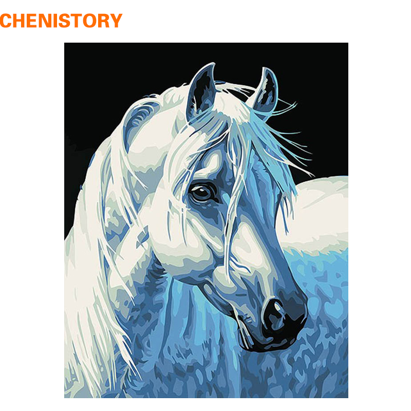 CHENISTORY DIY Oil Painting By Numbers Home Decoration Paint On Canvas Animal Craft Picture Horse Abstract 40x50cm Unique Gift