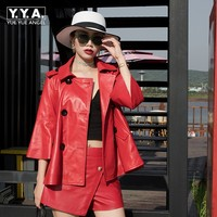 Korean Red Black Three Quarter Flare Sleeve Ladies Genuine Leather Coat Slim Sheepskin Jacket Real Leather Jacket Manteau Mouton