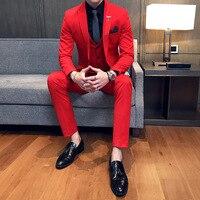 Королевского синего цвета для торжественных случаев Для мужчин s Terno Slim Fit белый костюм Нарядные Костюмы для свадьбы Для мужчин красный коро