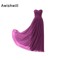 Cheap Long Bridesmaid Dresses 2018 Women's Sweetheart Ruched Chiffon Lace-up Back Vestidos Prom Party Dress Maid of Honor Dress