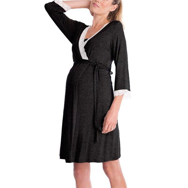 Moda rendas retalhos maternidade pijamas três quartos