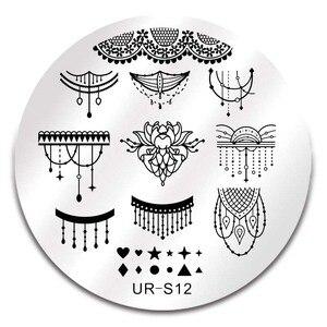 Image 4 - UR ZUCKER Spitze Blume Nagel Stanzen Vorlage Edelstahl Stanzen Platte Tier Muster Nail art Stempel Stanzen Vorlage Werkzeug