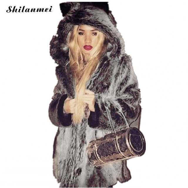 9cab583adc Winter Women Fur Jacket Fur Coat Female Panda Ears Hooded Women Faux Fur  Coat Black Bear. placeholder ...