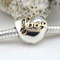 Fits Pandora Bracelets Heart of Love Clips Silver Beads With Gold Original 100% 925 Sterling Silver Charms DIY