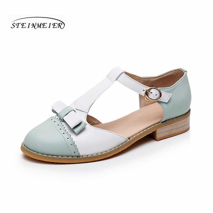 Frauen sandalen oxford schuhe vintage echtem leder wohnungen bogen gladiator oxfords sommer plattform sandalen für frauen hausschuhe 2019