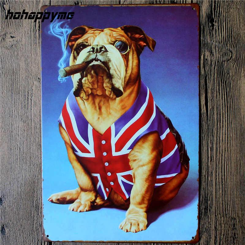 Pes Pet Metal Plechová cedule Sova Zvířata Vintage Wall Art Painting Plaketa Pet Store Iron Poster Domácí dekorace 20 * 30 CM