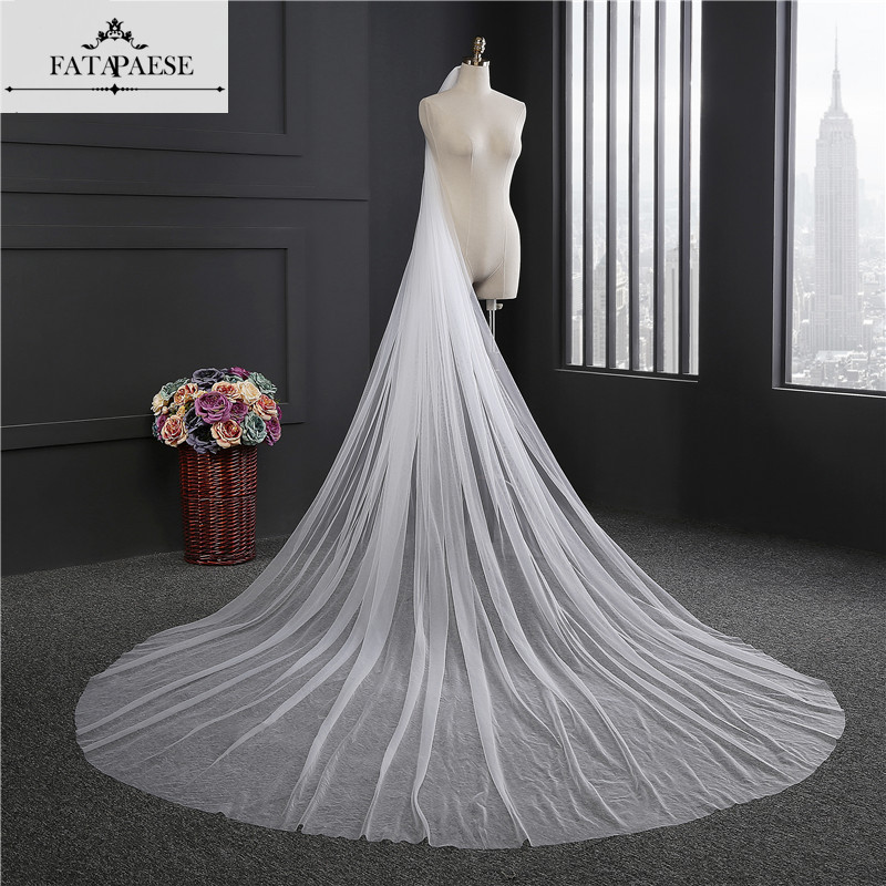 Elegant Wedding Veil 3 Meters Long Soft Bridal Veils With Comb One-layer Ivory White Color Bride Wedding Accessories