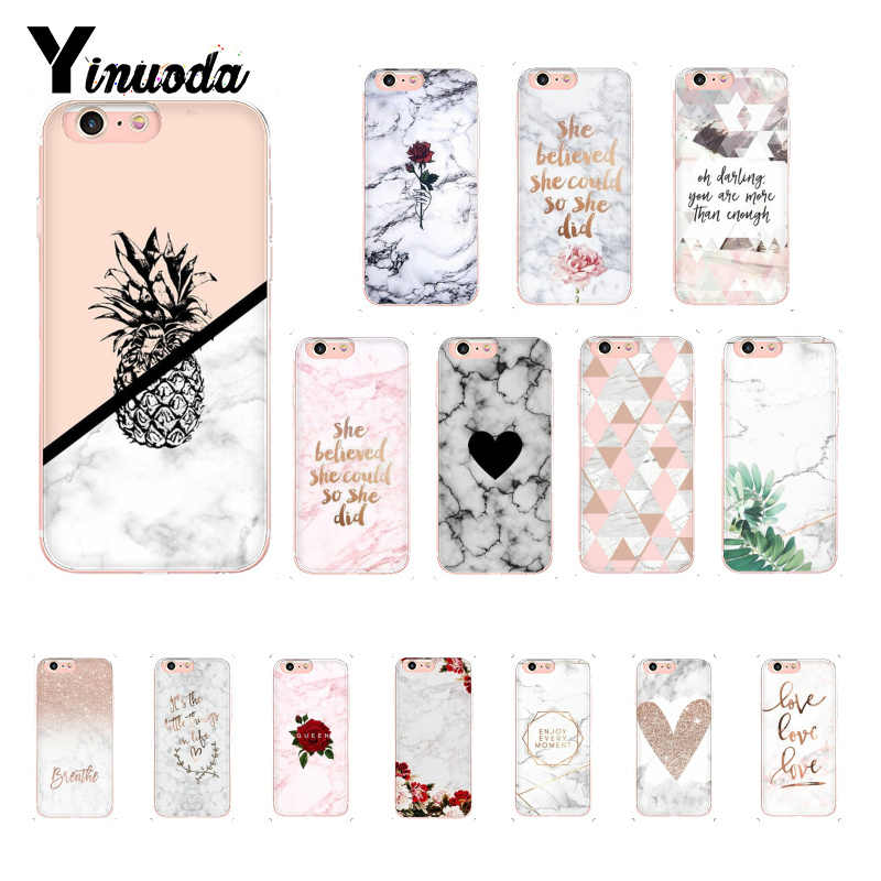 Yinuoda marble flower leaf printed pattern newly Colorful Cute Phone Case for iPhone X XS MAX 6 6S 7 7plus 8 8Plus 5 5S XR 10