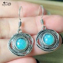 Hot Tibetan style Vintage Silver Earrings Jewelry Synthetic Turquoises Round Dangle Drop Charm for Women A35