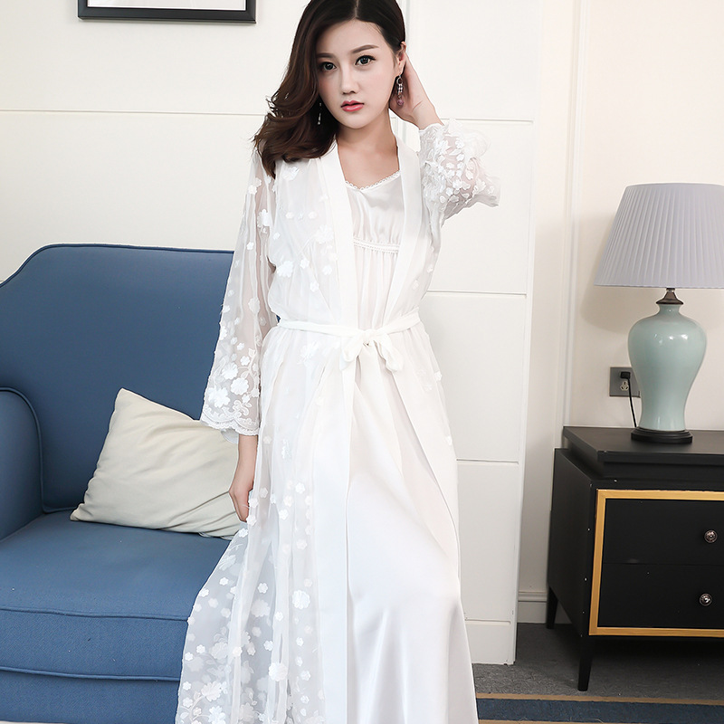 2018 New Spring Womens Long Robe Beautiful Princess Sexy White Sleepwear Nightgown Summer Thin Two Pieces Set Free Shipping