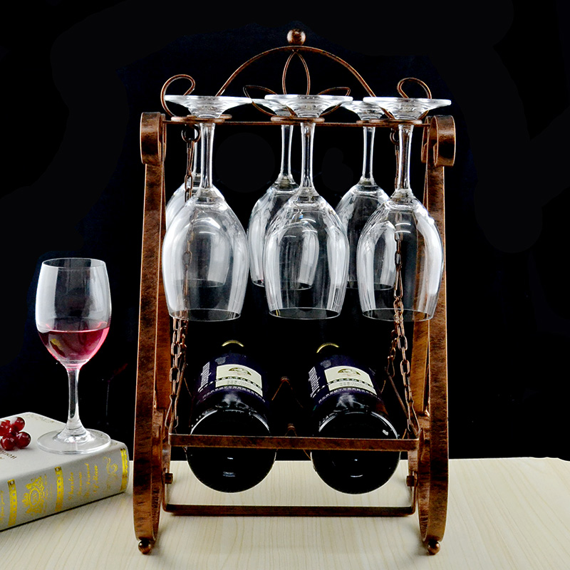 Upside Down Bronze Wine Glass Rack Swing Wine Euro...