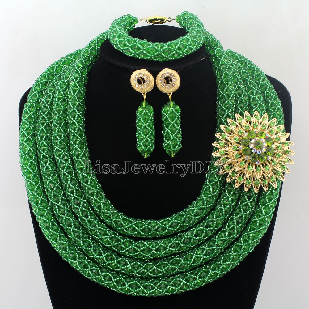 Stylish Nigerian Wedding African Beads Jewelry Set Handmade Indian Dubai Bridal Necklace Sets Free Shipping HD7333